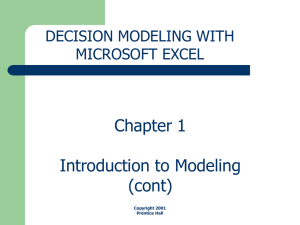 Chapter 1 Introduction to Modeling (cont)