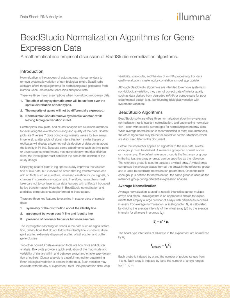 BeadStudio Normalization Algorithms for Gene Expression