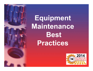 Equipment Maintenance Best Practices Equipment Maintenance