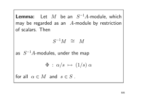 Lemma: Let M be an S A-module, which may be regarded as an A