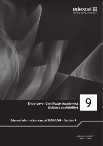 Entry Level Certificate (Academic) (Subject availability)