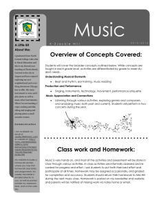 Overview of Concepts Covered: Class work and Homework: