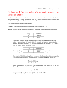 Q. How do I find the value of a property between two