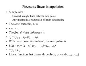 Piecewise linear interpolation