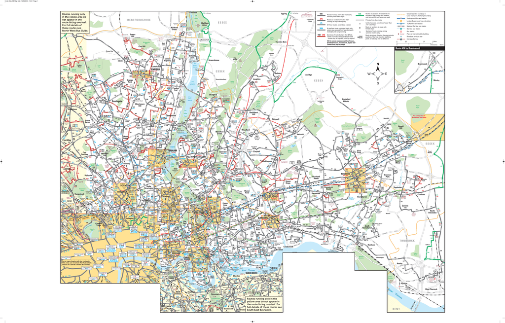 North to East London Bus Map on