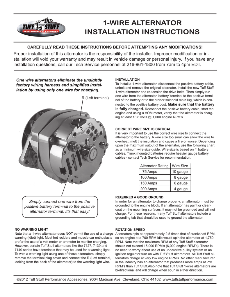 1 Wire Alternator Installation Instructions How To A