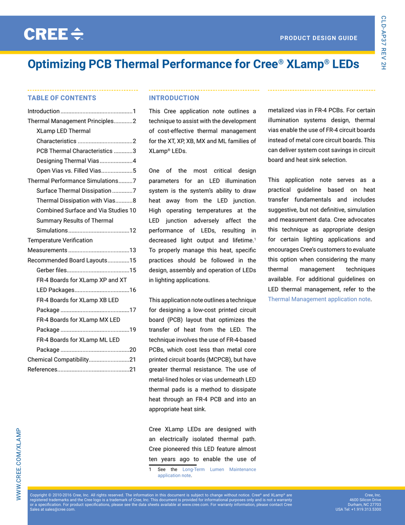 Optimizing Pcb Thermal Performance For Cree Xlamp Leds Al With Metal Core Aluminum Printed Circuit Boards