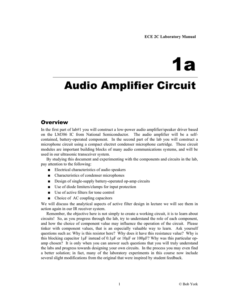 Audio Amplifier Circuit Electrical And Computer Engineering 16 W By Lm383