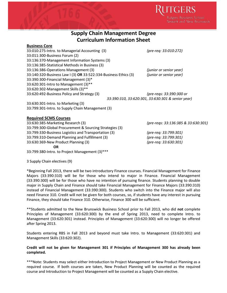 Supply Chain Management Degree Curriculum Information Sheet