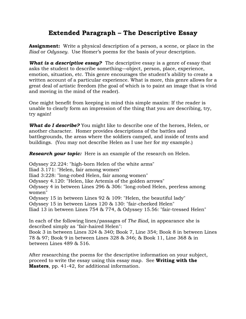 extended paragraph the descriptive essay - Describe A Place Essay Example