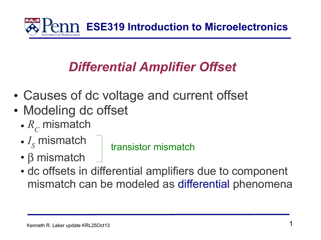 Differential Amplifier Offset Causes of dc voltage and current offset