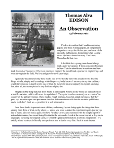 Thomas Alva Edison: An Observation