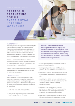 STRATEGIC PARTNERING FOR HR: EXPERIENTIAL LEARNING