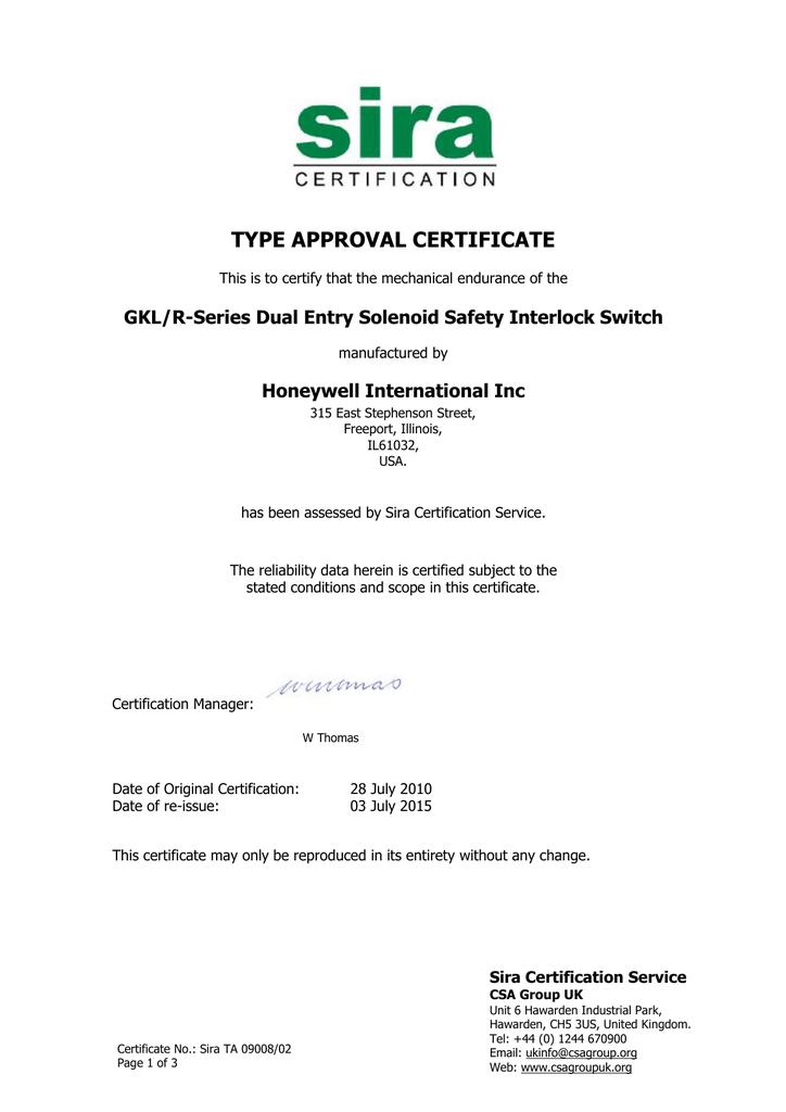 Gklr Switch Mechanical Endurance Certificate