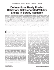 Do Intentions Really Predict Behavior? Self
