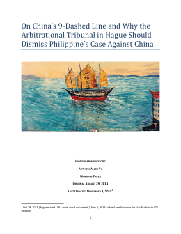On China`s 9-Dashed Line and Why the Arbitrational Tribunal in