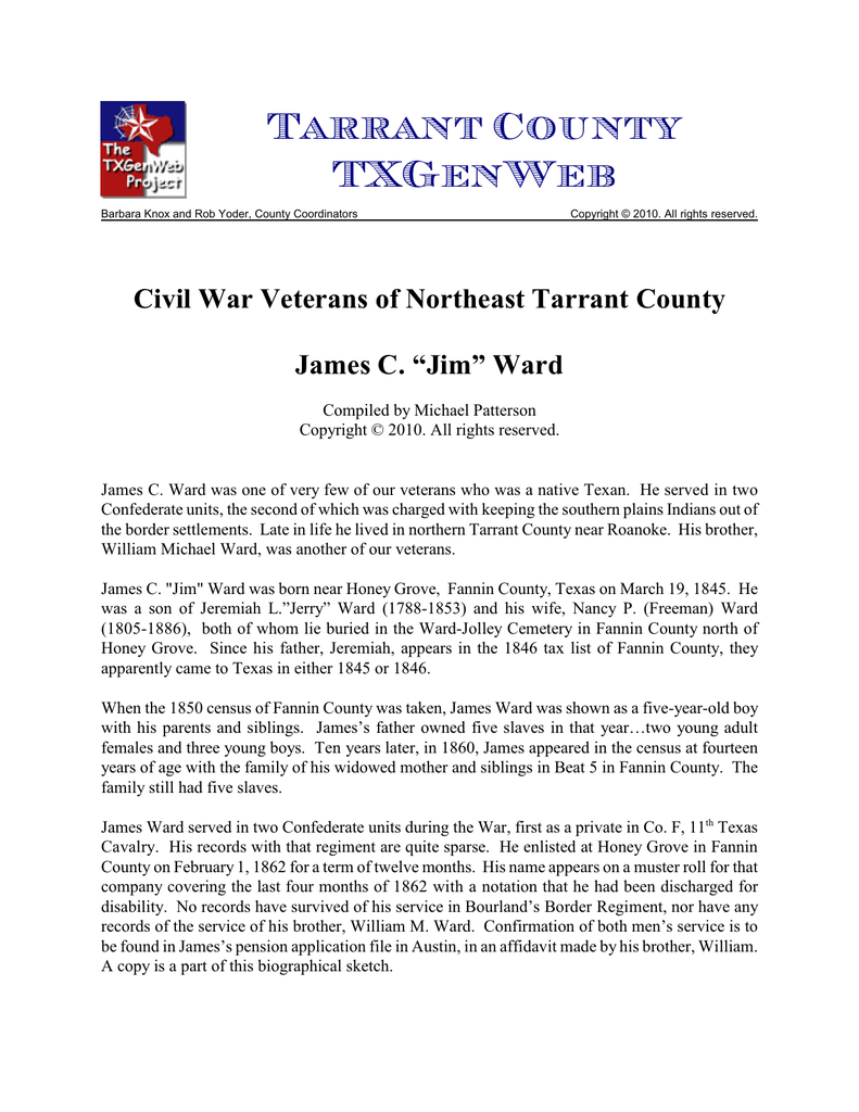 Civil War Veterans Of Northeast Tarrant County