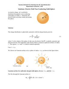 Electric Field Non-Conducting Solid Sphere