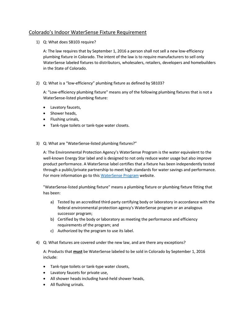 Colorado`s Indoor WaterSense Fixture Requirement