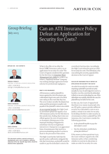 Can an ATE Insurance Policy Defeat an Application for Security for
