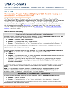Understanding Program Participant Eligibility for ESG Rapid Re