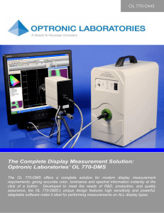 The Complete Display Measurement Solution: Optronic Laboratories
