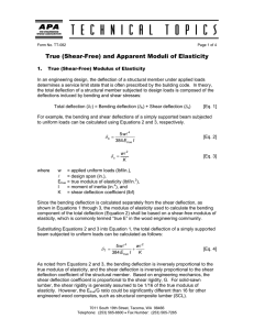 True (Shear-Free) and Apparent Moduli of Elasticity