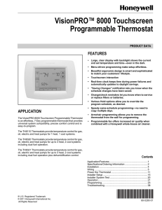 VisionPRO 8000 Touchscreen Programmable Thermostat