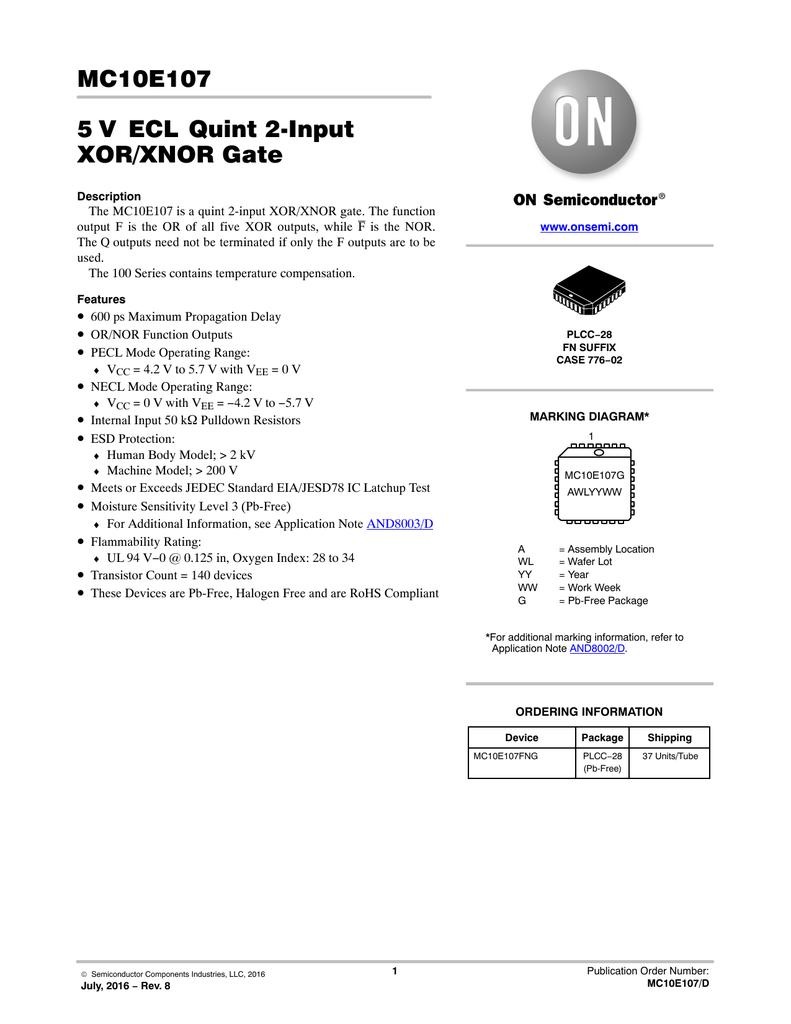 Mc10e107 5 V Ecl Quint 2input Xor Xnor Gate Logic Diagram Of