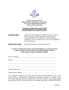 Contractor Responsibility Certification Form