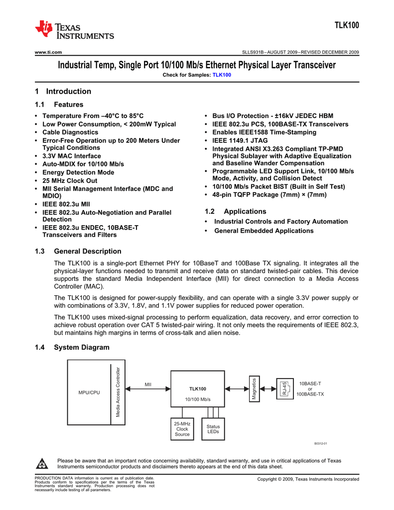 Industrial Ethernet PHY (Rev  B)