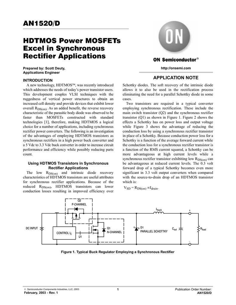 An1520 D Hdtmos Power Mosfets Excel In Synchronous Mosfet Output Switching Regulator Circuitin Integrated Circuits