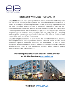 INTERNSHIP AVAILABLE – QUEENS, NY Visit us at www.EIA.US