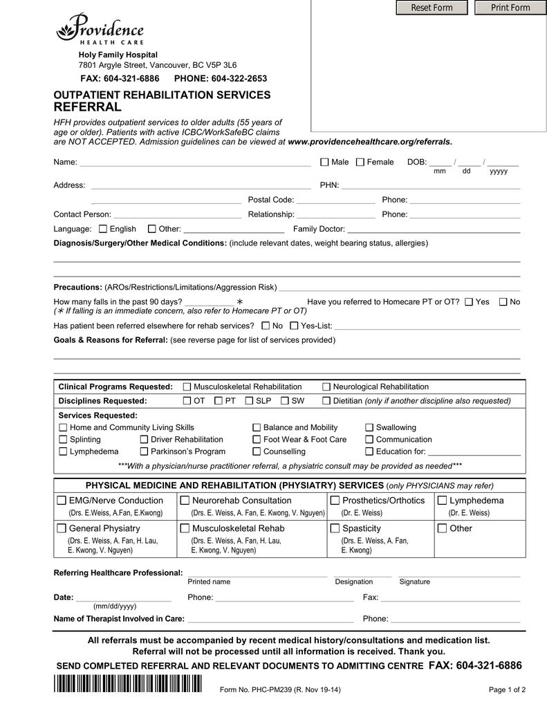 referral - Providence Health Care