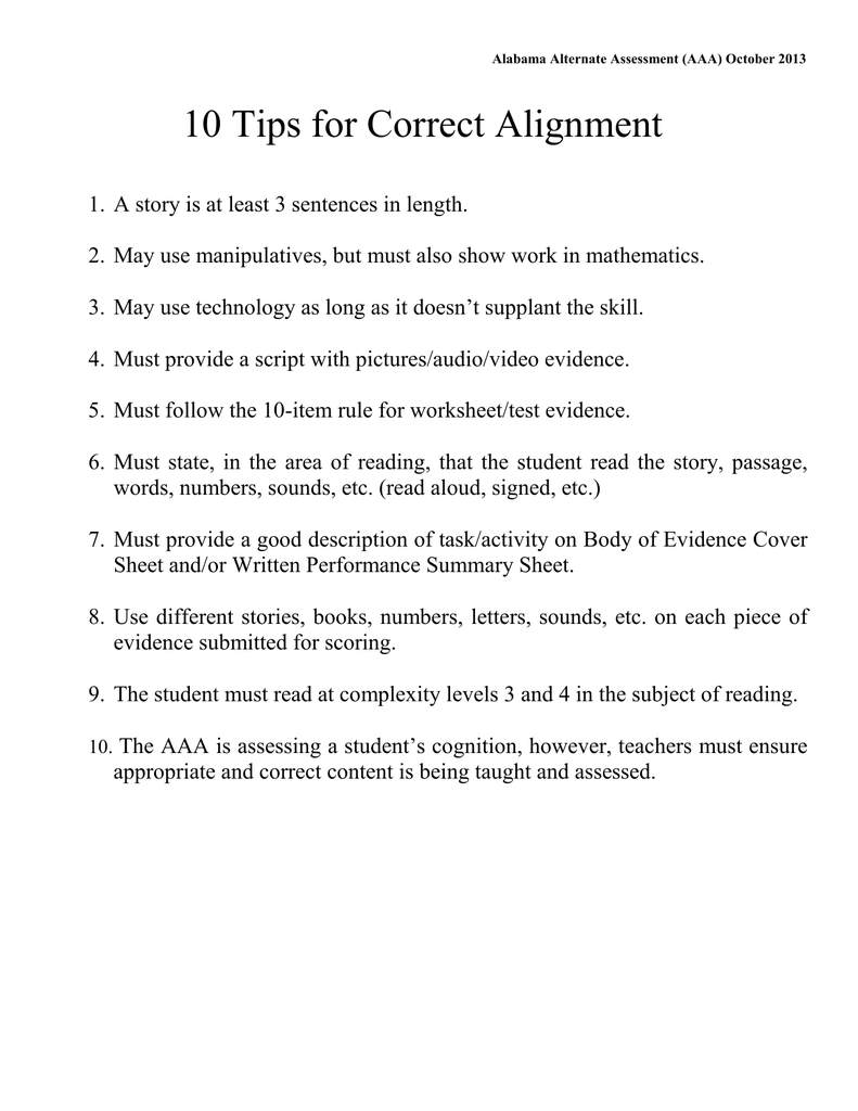 10 Tips for Correct Alignment