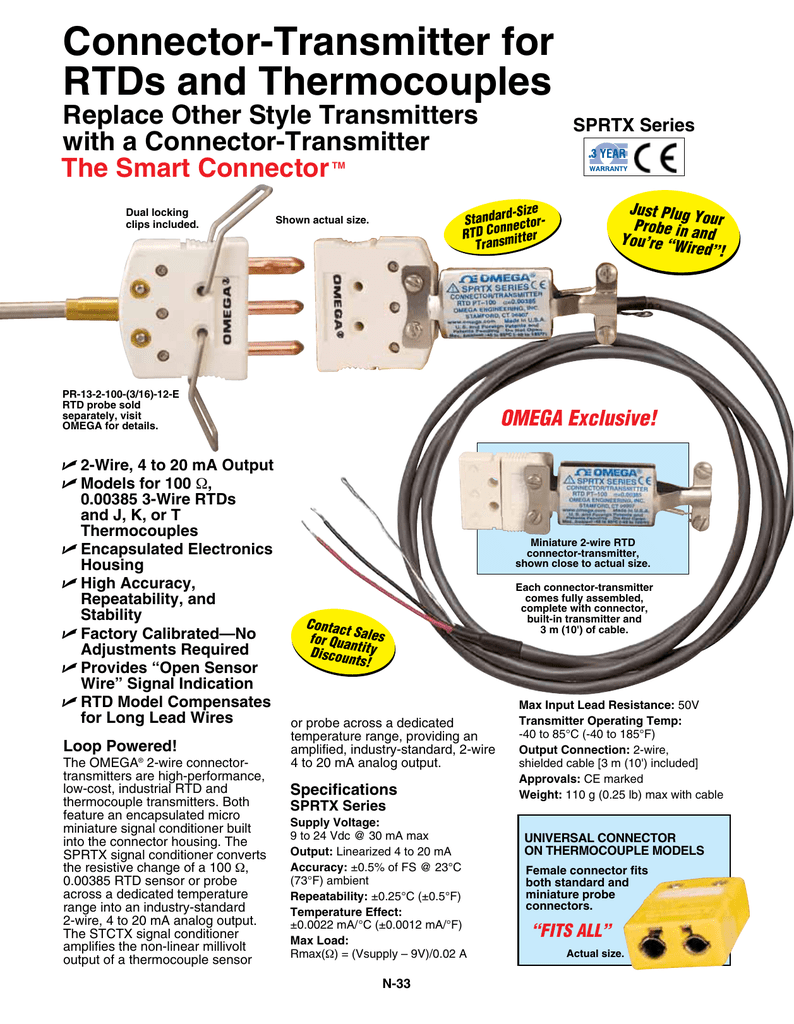 Connector-Transmitter for RTDs and Thermocouples