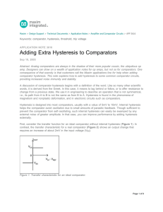 Adding Extra Hysteresis to Comparators - Application Note