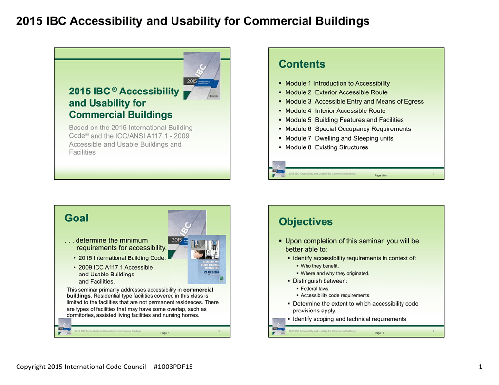 2015 IBC Accessibility and Usability for Commercial Buildings