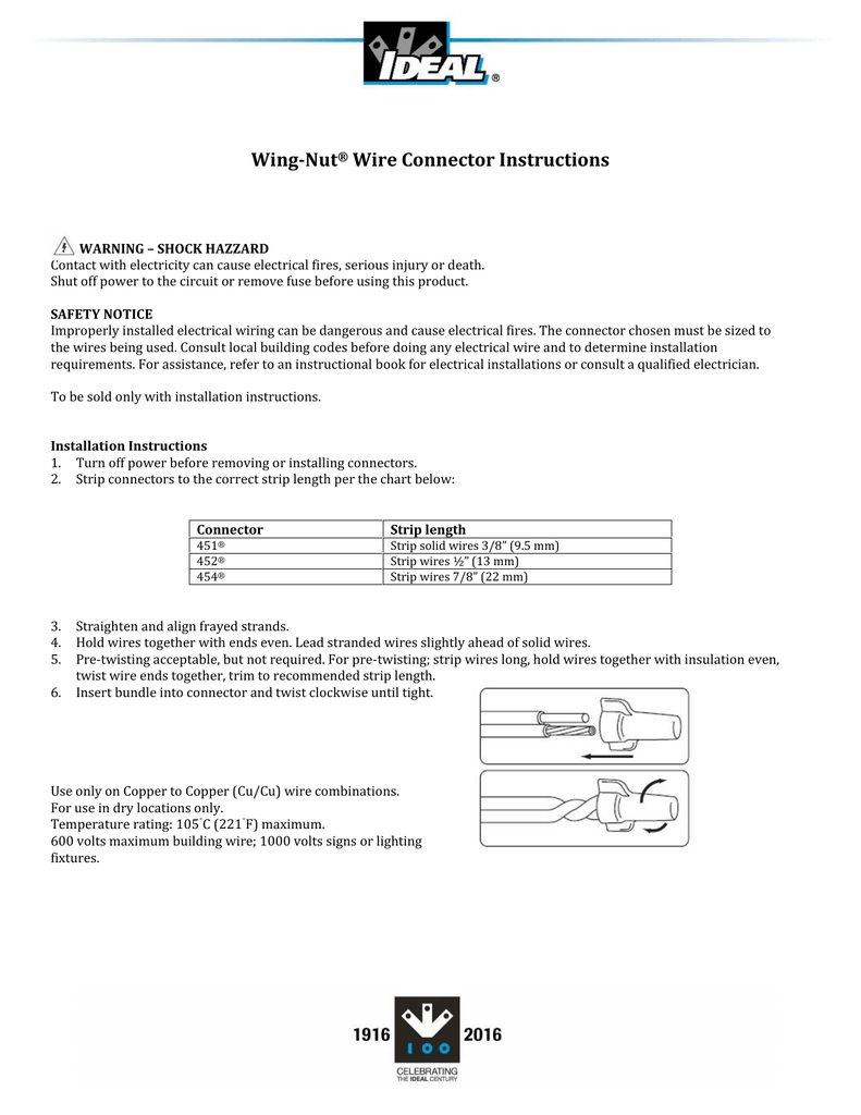 Wing-Nut® Wire Connector Instructions
