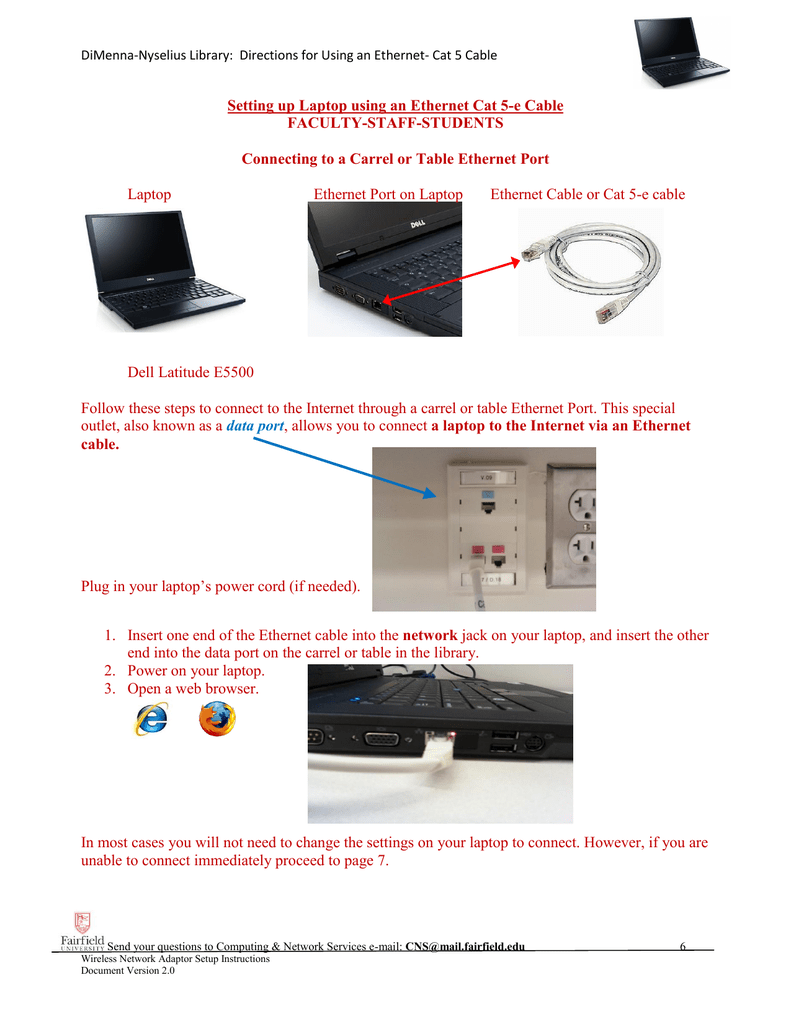 Setting Up Laptop Using An Ethernet Cat 5 E Cable Power Jack Wiring Diagram For