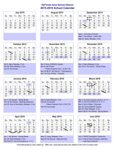 2015-2016 School Calendar - DeForest Area School District