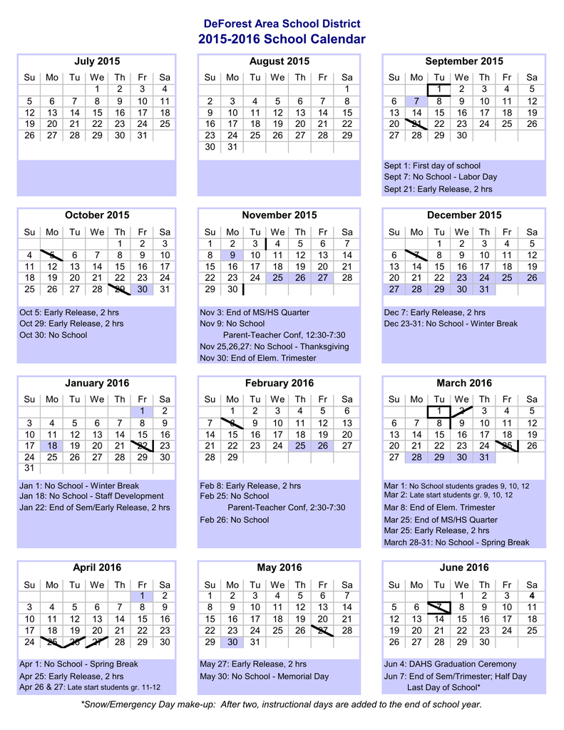 Deforest School Calendar 2021 Photos