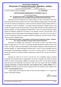 Expression of Interest (EoI-II) up gradation of Government I.T.I
