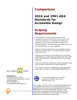 Comparison 2010 and 1991 ADA Standards for Accessible Design