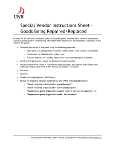 Special Vendor Instructions Sheet – Goods Being Repaired/Replaced