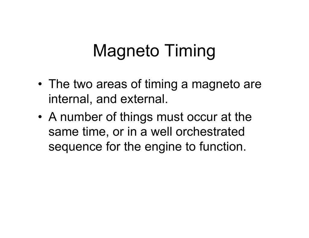 3  Theory of Magneto Timing and Starting Systems