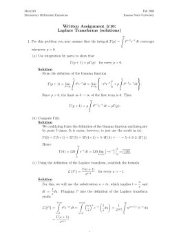 Written Assignment #10: Laplace Transforms