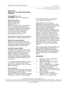 BORIC ACID Sigma Prod. Nos. B0252, B7660 - Sigma