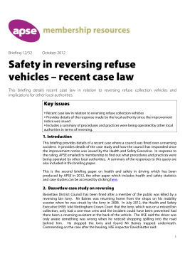 Safety in reversing refuse vehicles – recent case law