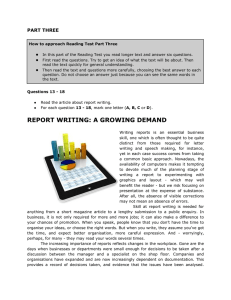 report writing: a growing demand - LINK e